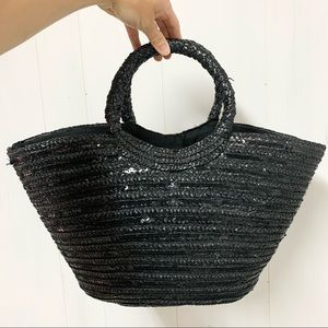 NWT Black Straw Beach Bag